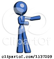 Blue Design Mascot Woman Presenting Something To Her Left