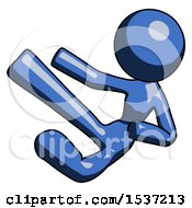 Blue Design Mascot Woman Flying Ninja Kick Left
