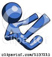 Blue Design Mascot Man Flying Ninja Kick Right