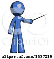 Blue Design Mascot Man Teacher Or Conductor With Stick Or Baton Directing