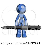 Blue Design Mascot Woman Lifting A Giant Pen Like Weights