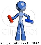 Blue Design Mascot Woman Red Pill Or Blue Pill Concept