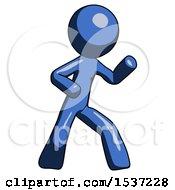 Blue Design Mascot Man Martial Arts Defense Pose Right