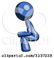 Blue Design Mascot Woman Squatting Facing Left