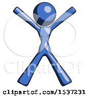 Blue Design Mascot Woman Jumping Or Flailing