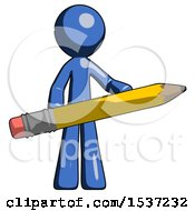 Blue Design Mascot Man Writer Or Blogger Holding Large Pencil