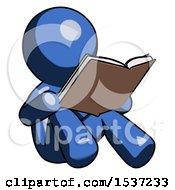 Blue Design Mascot Man Reading Book While Sitting Down