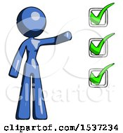 Blue Design Mascot Woman Standing By A Checkmark List Arm Extended