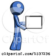 Blue Design Mascot Man Show Tablet Device Computer To Viewer Blank Area