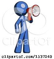 Blue Design Mascot Man Shouting Into Megaphone Bullhorn Facing Right