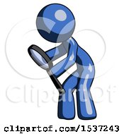 Blue Design Mascot Man Inspecting With Large Magnifying Glass Left