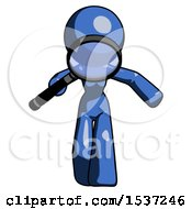 Blue Design Mascot Woman Looking Down Through Magnifying Glass