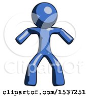 Blue Design Mascot Male Sumo Wrestling Power Pose