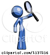 Blue Design Mascot Woman Inspecting With Large Magnifying Glass Facing Up