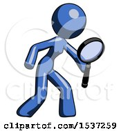 Blue Design Mascot Woman Inspecting With Large Magnifying Glass Right