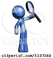 Blue Design Mascot Man Inspecting With Large Magnifying Glass Facing Up