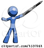 Blue Design Mascot Man Demonstrating That Indeed The Pen Is Mightier