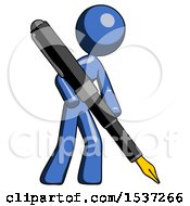 Blue Design Mascot Woman Drawing Or Writing With Large Calligraphy Pen