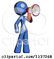 Blue Design Mascot Woman Shouting Into Megaphone Bullhorn Facing Right