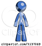 Blue Design Mascot Woman Standing Facing Forward