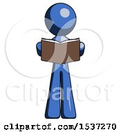 Blue Design Mascot Man Reading Book While Standing Up Facing Viewer