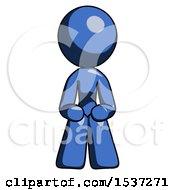 Blue Design Mascot Woman Squatting Facing Front