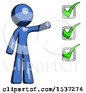 Blue Design Mascot Man Standing By List Of Checkmarks