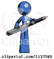 Blue Design Mascot Woman Posing Confidently With Giant Pen