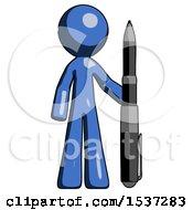 Blue Design Mascot Man Holding Large Pen