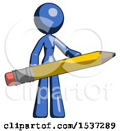 Blue Design Mascot Woman Office Worker Or Writer Holding A Giant Pencil