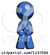 Blue Design Mascot Man Squatting Facing Front