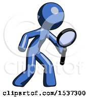 Blue Design Mascot Man Inspecting With Large Magnifying Glass Right