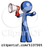 Blue Design Mascot Man Shouting Into Megaphone Bullhorn Facing Left