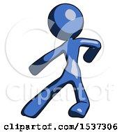 Blue Design Mascot Woman Karate Defense Pose Left