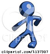 Blue Design Mascot Man Karate Defense Pose Left