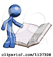 Blue Design Mascot Man Reading Big Book While Standing Beside It