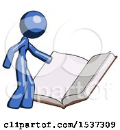 Blue Design Mascot Woman Reading Big Book While Standing Beside It