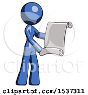 Blue Design Mascot Woman Holding Blueprints Or Scroll