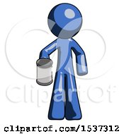 Blue Design Mascot Man Begger Holding Can Begging Or Asking For Charity