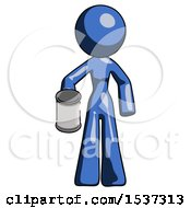 Blue Design Mascot Woman Begger Holding Can Begging Or Asking For Charity