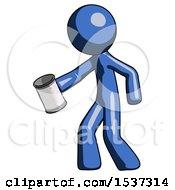 Blue Design Mascot Man Begger Holding Can Begging Or Asking For Charity Facing Left