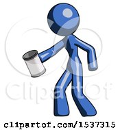 Blue Design Mascot Woman Begger Holding Can Begging Or Asking For Charity Facing Left