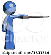 Blue Design Mascot Man Standing With Ninja Sword Katana Pointing Right