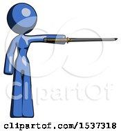 Blue Design Mascot Woman Standing With Ninja Sword Katana Pointing Right