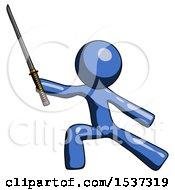 Blue Design Mascot Man With Ninja Sword Katana In Defense Pose
