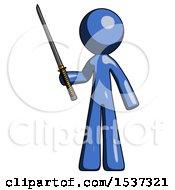 Blue Design Mascot Man Standing Up With Ninja Sword Katana