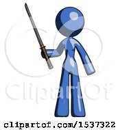 Blue Design Mascot Woman Standing Up With Ninja Sword Katana