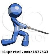 Blue Design Mascot Man With Ninja Sword Katana Slicing Or Striking Something