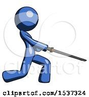 Blue Design Mascot Woman With Ninja Sword Katana Slicing Or Striking Something
