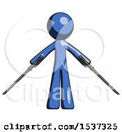 Blue Design Mascot Man Posing With Two Ninja Sword Katanas